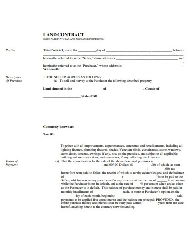 farm land contract form