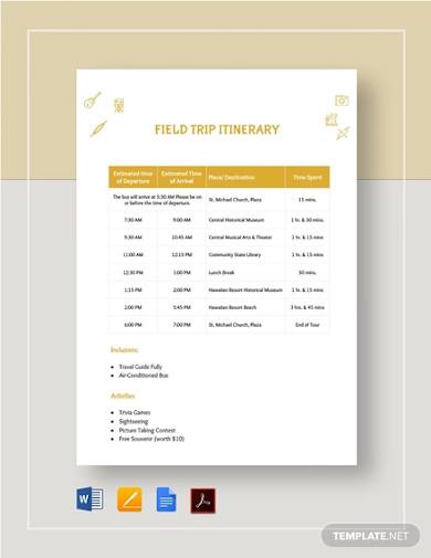 field trip itinerary