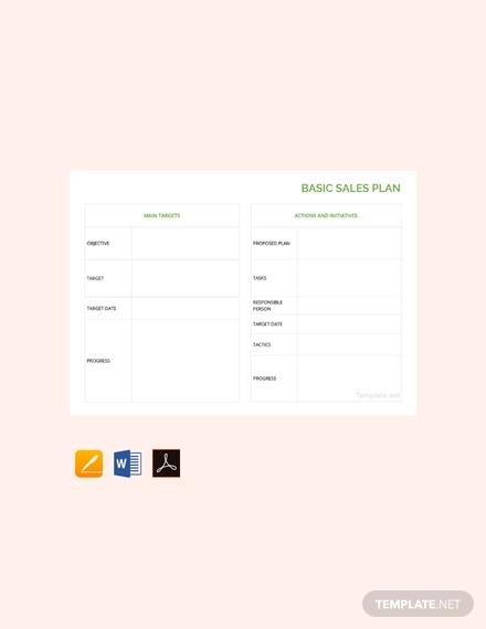 free basic sales plan template
