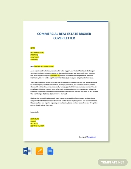 free commercial real estate broker cover letter template