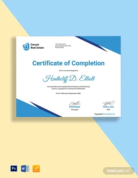free commercial real estate certificate template