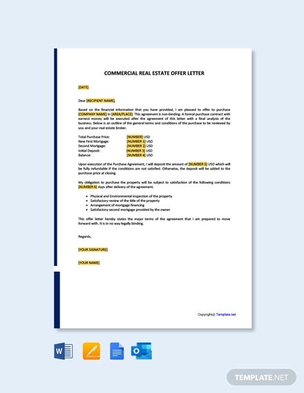 free commercial real estate offer letter