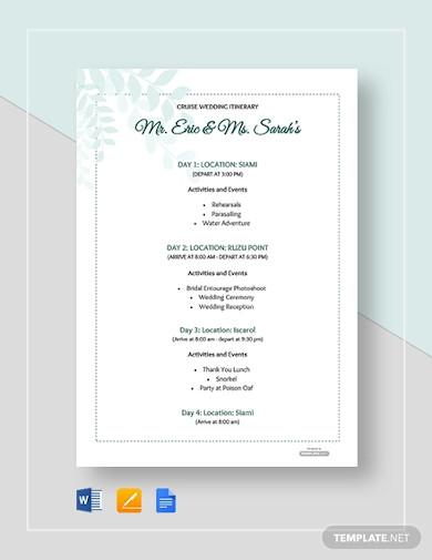 free cruise wedding itinerary template