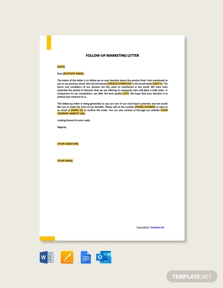 free follow up marketing letter