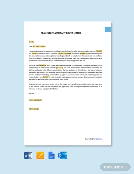 free real estate assistant cover letter template