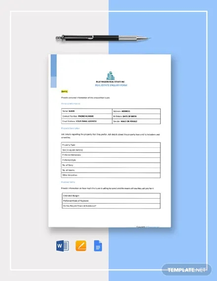 free real estate enquiry form template