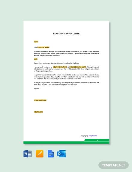 free real estate offer letter
