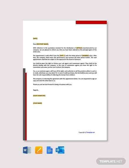 free sample agent appointment letter