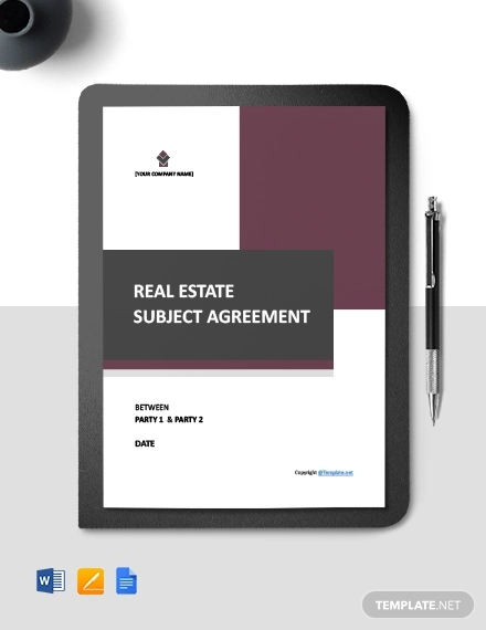 free sample real estate agreement template