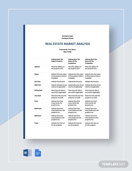 free sample real estate market analysis template