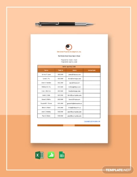 free simple real estate open house sign in sheet template