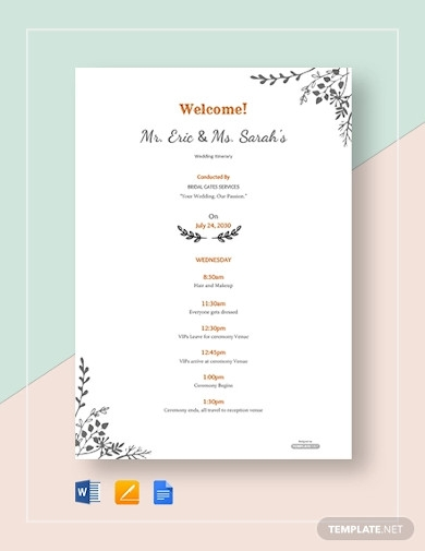 free simple wedding itinerary template