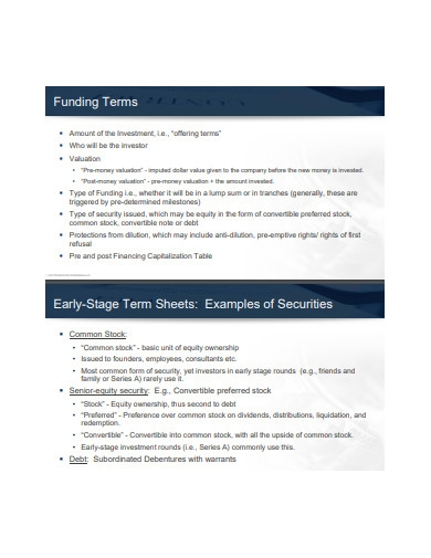 fund term sheet