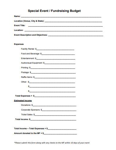 fundraising budget form