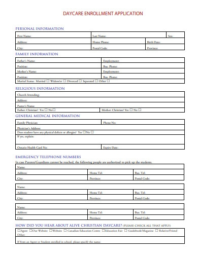 home daycare application