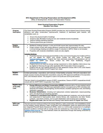housing term sheet