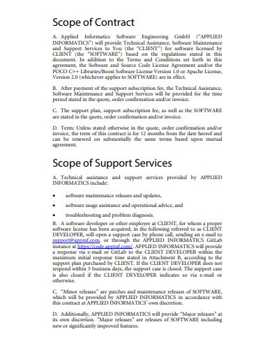 it support contract example
