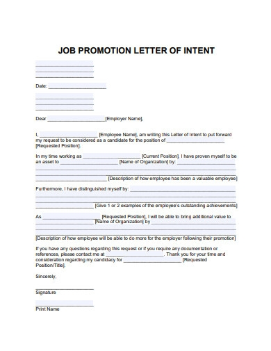 job promotion letter of intent