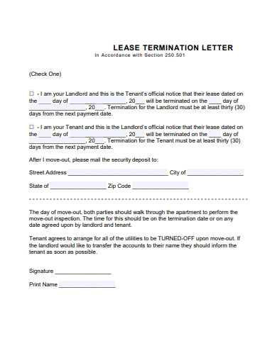 lease termination letter example
