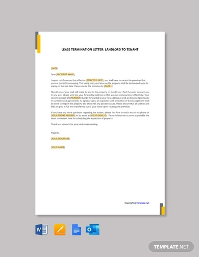 lease termination letter template landlord to tenant