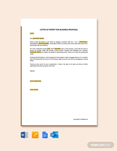 letter of intent for business proposal