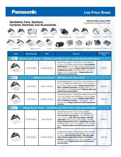list price sheet