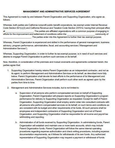 management and administrative services agreement