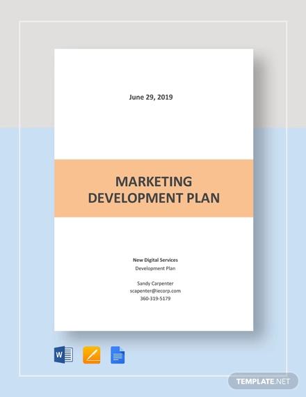 marketing development plan template