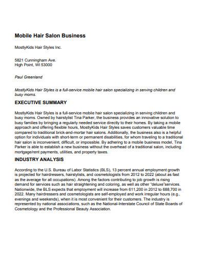 mobile hair salon business plan
