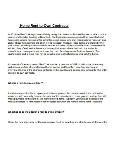 mobile home rent to own contracts
