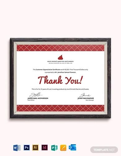 modern customer appreciation certificate