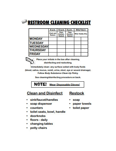 monthly restroom cleaning checklist