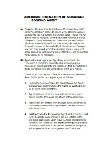 musician booking agent contract