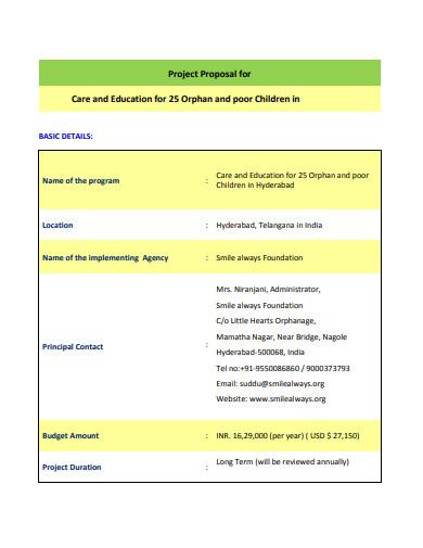 ngo project proposal child health