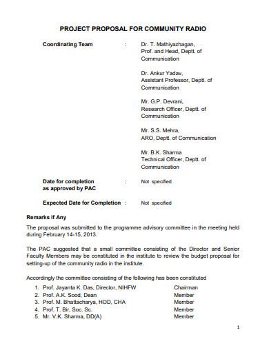 ngo project proposal for community radio