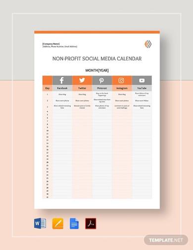 nonprofit social media calendar