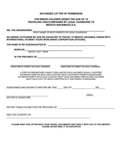notarized letter of permission