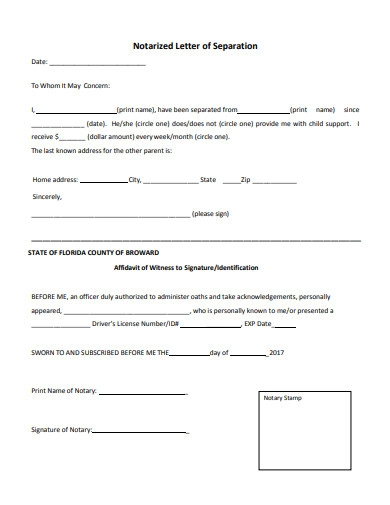 notarized letter of separation example