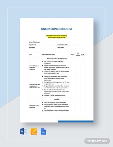 onboarding checklist example