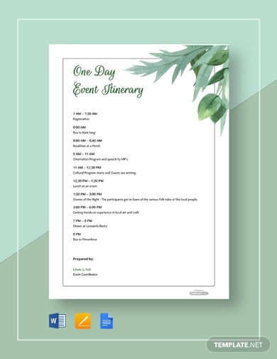 one day event itinerary