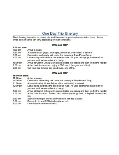 one day trip itinerary