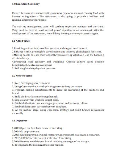 online restaurant business plan