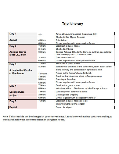 origin trip itinerary