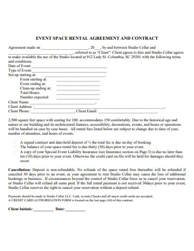 party event venue contract