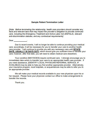 patient services termination letter