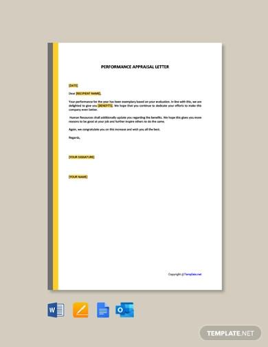performance appraisal letter