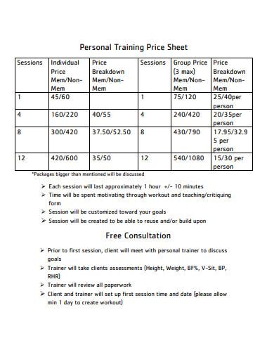 personal training price sheet