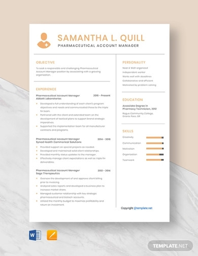pharmaceutical account manager resume