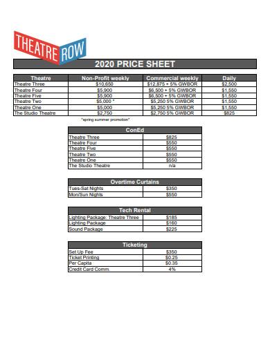 price sheet example