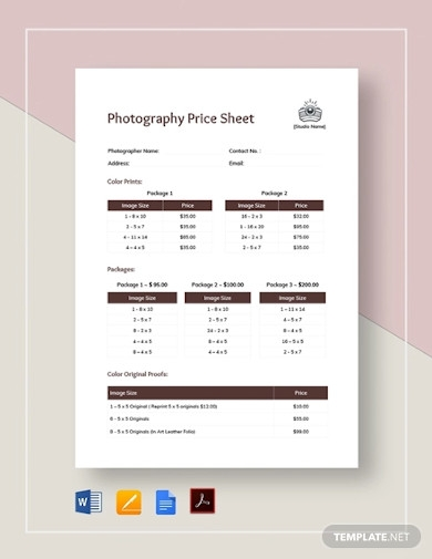 price sheet template for photography
